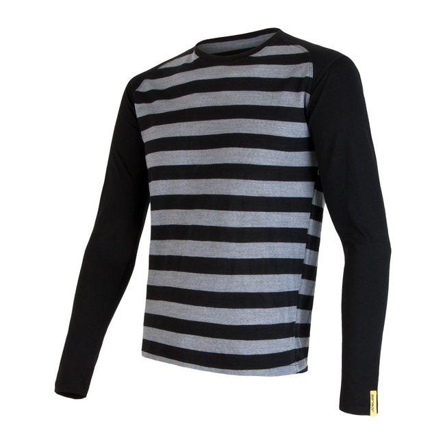 Sensor Merino Wool Active pánské triko dlouhý rukáv černé pruhy S