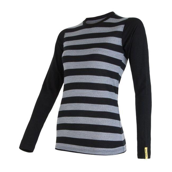 Sensor Merino Wool Active dámské triko dlouhý rukáv černé pruhy XL
