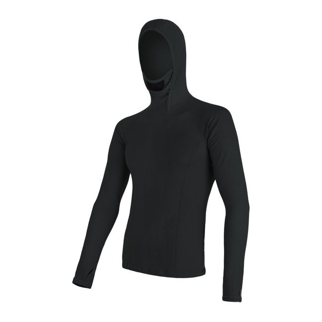 Sensor Merino Double Face pánské triko dlouhý rukáv s kapucí black XL