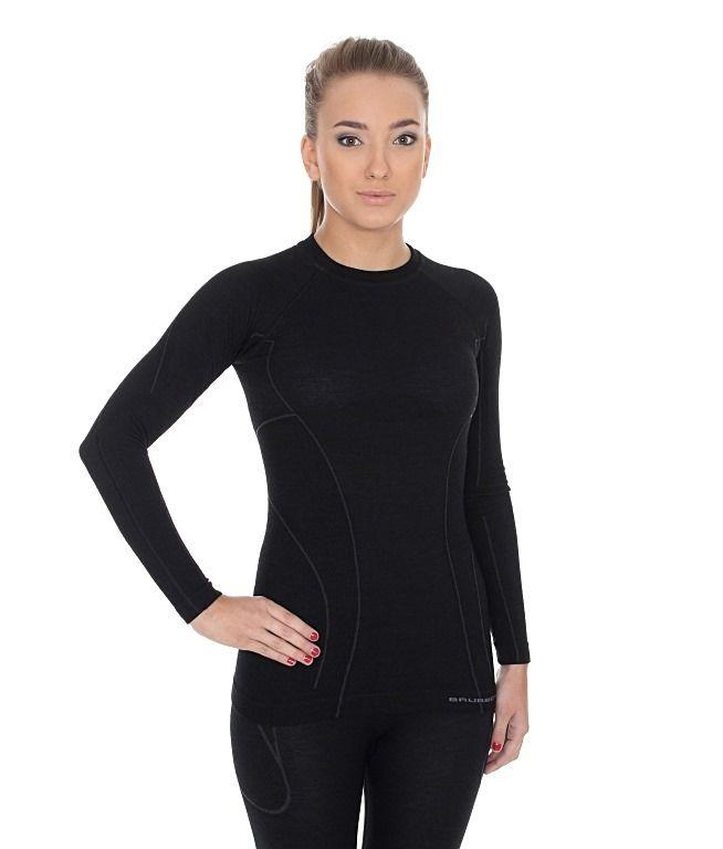 Brubeck Active Wool Dámské tričko s dlouhým rukávem black S