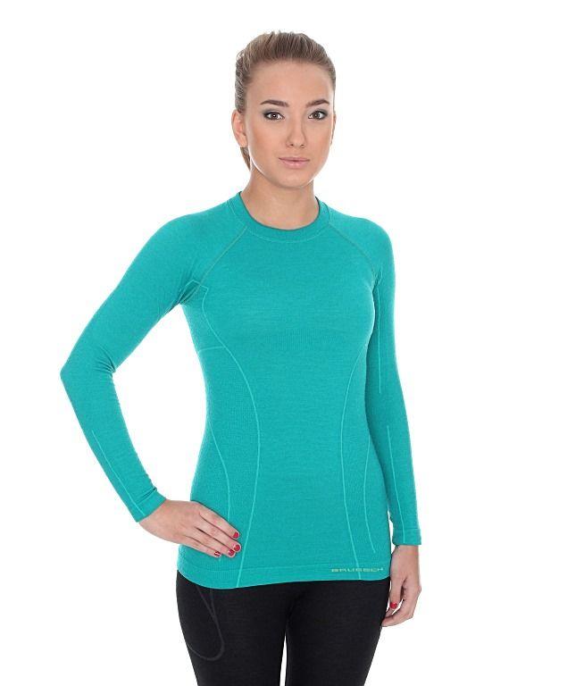 Brubeck Active Wool Dámské tričko s dlouhým rukávem emerald S