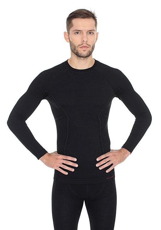 Brubeck Active Wool Pánské tričko s dlouhým rukávem black L
