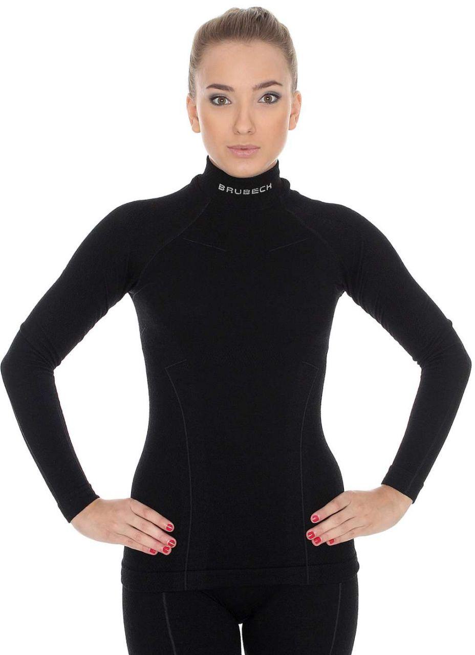 Brubeck Wool Merino Dámské tričko s dlouhým rukávem black S