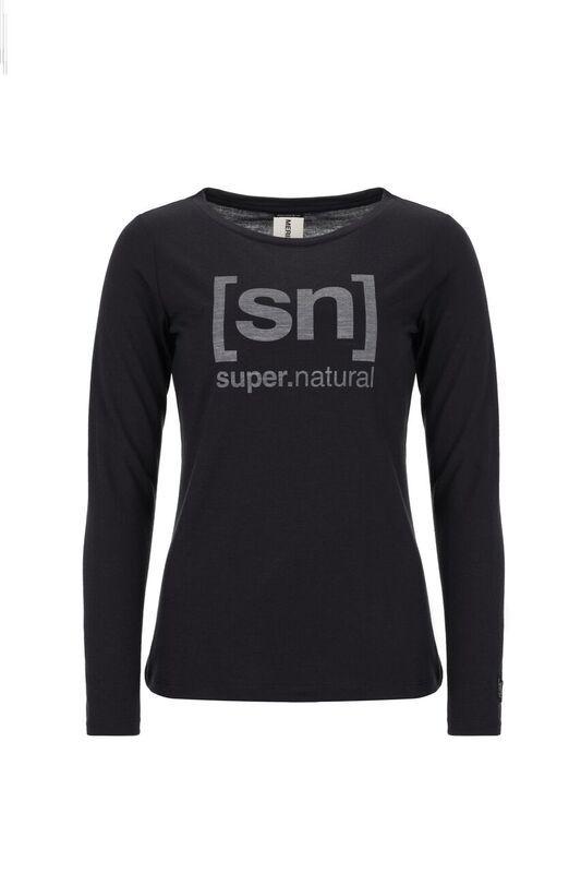 [sn] super.natural W Essential Graphic LS jet black/vapor grey XS