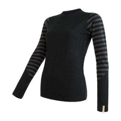 Merino Active Dámske tričko dlhý rukáv - Pruhy