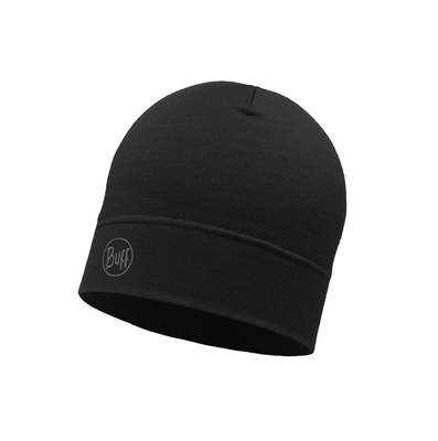Merino wool Buff hat Midweight - Solid black
