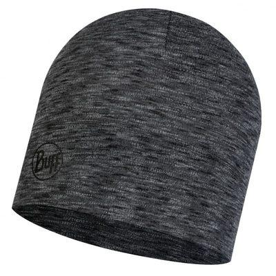 Merino wool Buff hat Midweight - Graphite multi stripes