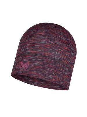 Merino wool Buff hat Lightweight- Shale grey multi stripes